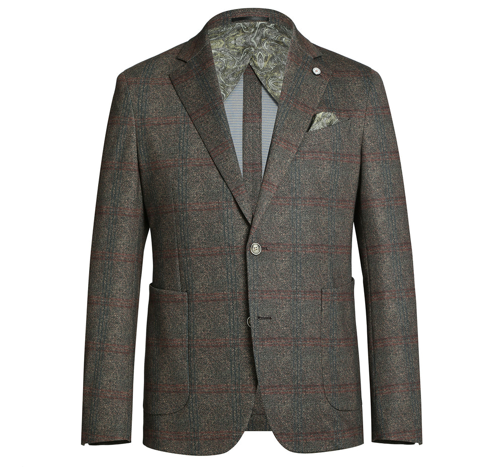 PF20-9 Pelago Men's Blazer Slim Fit Half Canvas Brown Windowpane Sport Coat