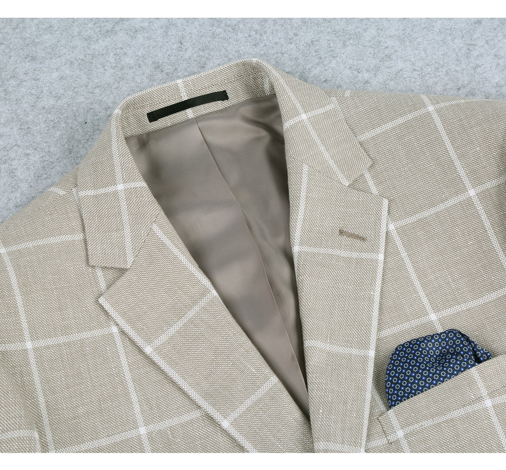610-2 Men's Classic Fit Blazer Summer Linen Cotton Sport Coat