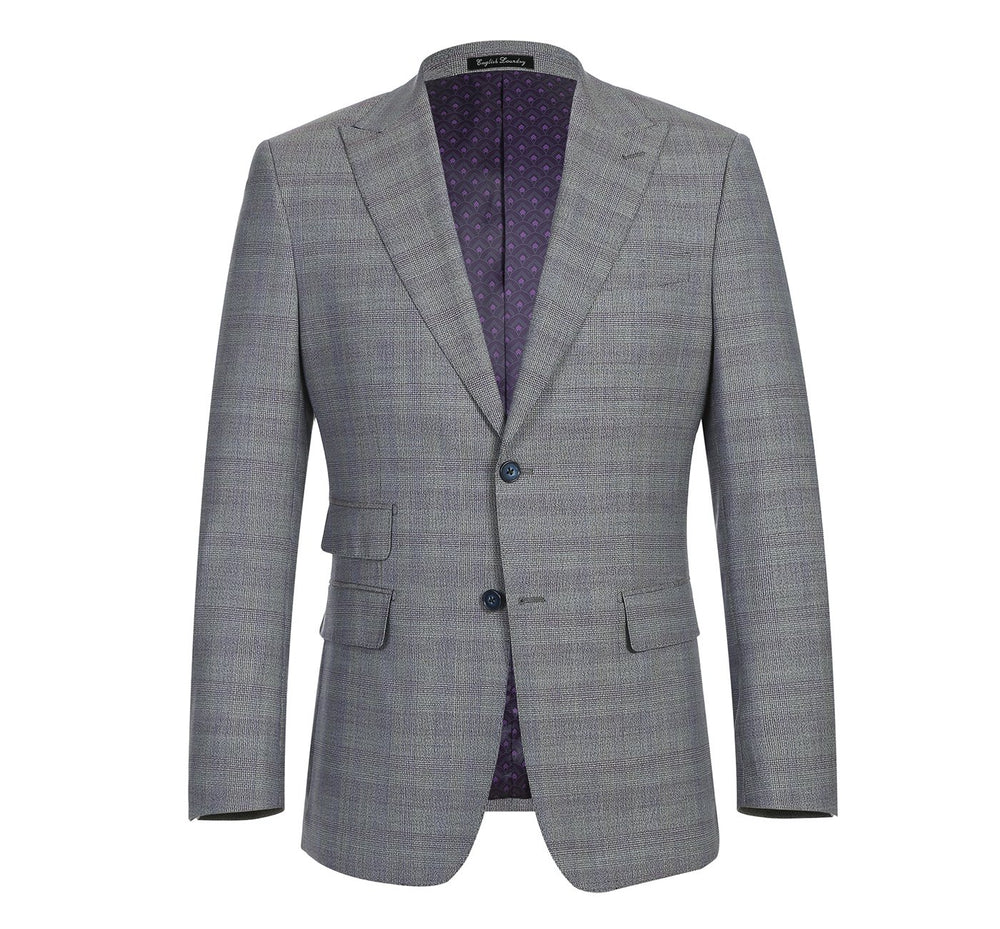 42-50-702English Laundry Men's Slim-Fit 3-Piece Single Breasted Plaid Stretch Suit