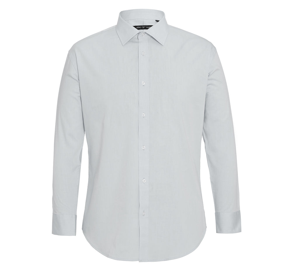 C121431 Men's Slim Fit Long Sleeve Spread Collar Solid Cotton Dress Shirt