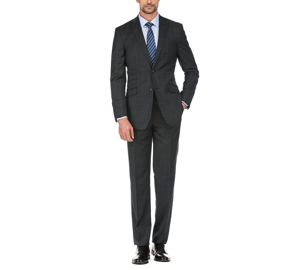 English Laundry32-50-095 Men's Slim Fit Two Button Windowpane Wool Suit