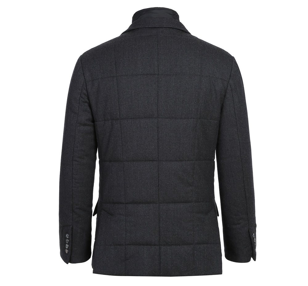 41-05-095 Mens Wool Blend Solid Grey Winter Jacket Coat With Removable Hood & Mock Liner