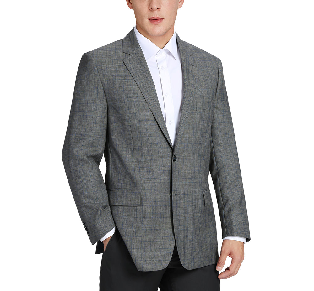 555-8 Men's Classic Fit Plaid Blazer Wool Sport Coat