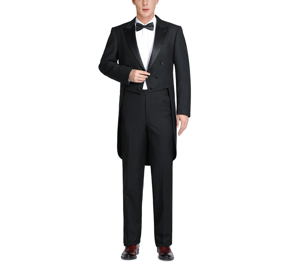 FD201-1 Men's Classic Fit Tuxedo Peak Lapel Full Dress Suit