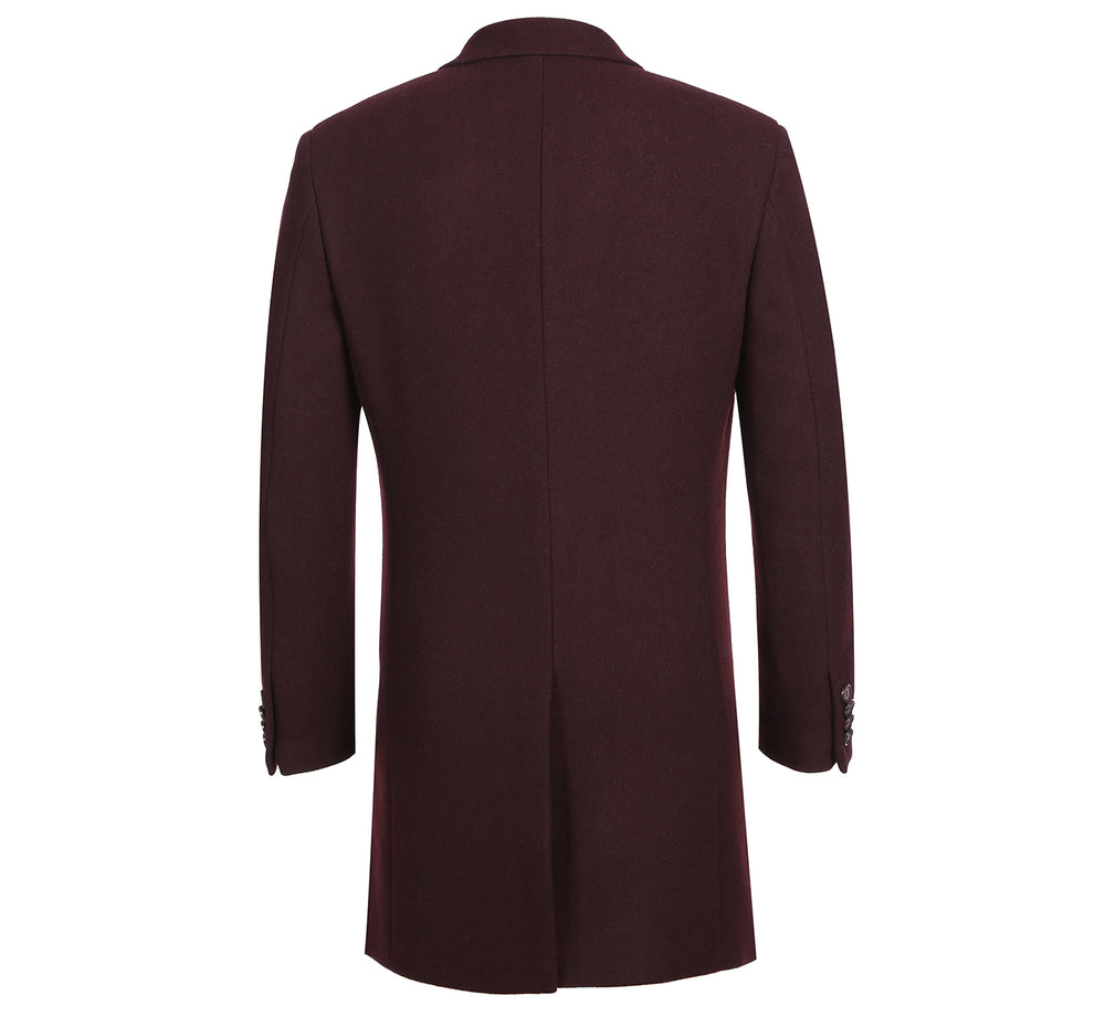 English Laundry43-01-700 Men's Wool Blend Breasted Solid Burgundy 3/4 Length Top Coat