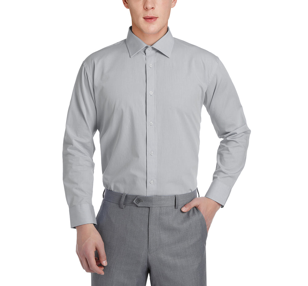 C121137 Men's Slim Fit Long Sleeve Spread Collar Solid Cotton Dress Shirt