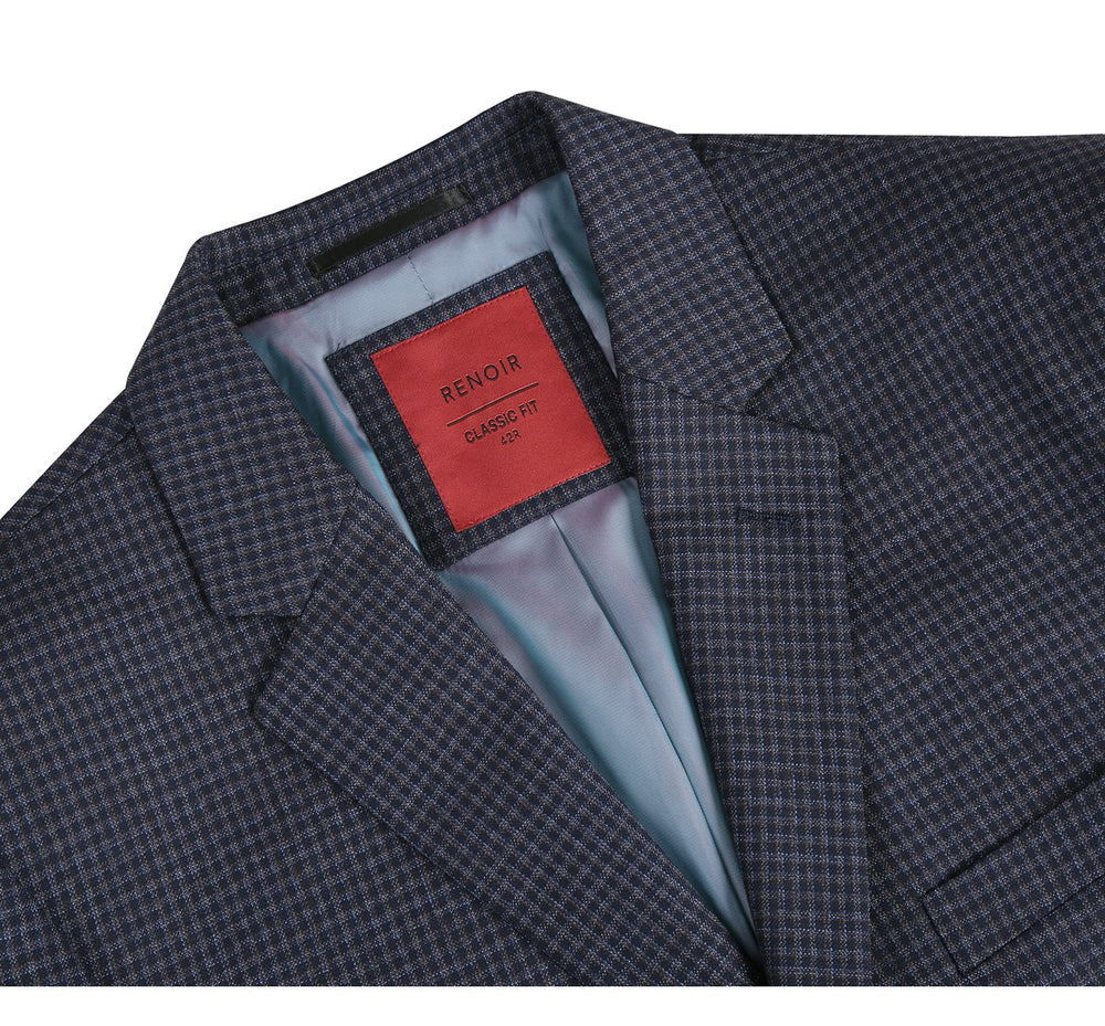 555-6 Men's Classic Fit Plaid Blazer 100% Wool Sport Coat