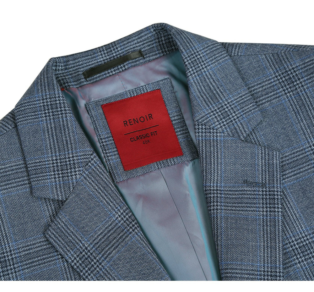 555-7 Men's Classic Fit Plaid Blazer 100% Wool Sport Coat