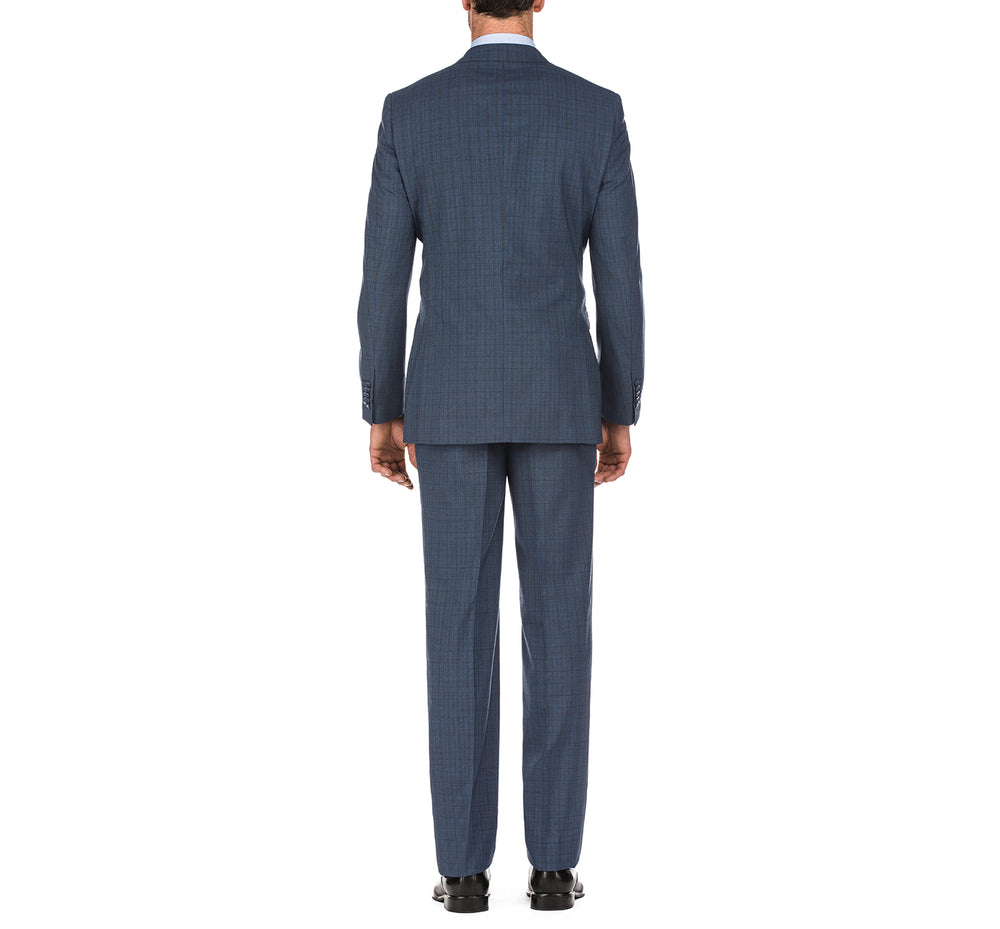English Laundry32-55-412 Men's Windowpane Slim Fit 2 Button Wool Suits