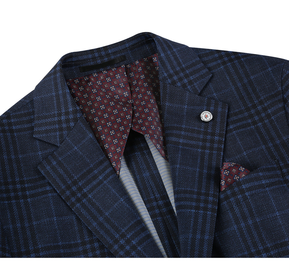PS21-5 Pelago Men's Blazer Slim Fit Half Canvas Blue Sport Coat