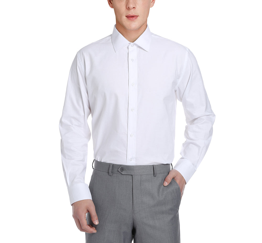 C121346 Men's Classic/Regular Fit Long Sleeve Oxford Solid Dress Shirt