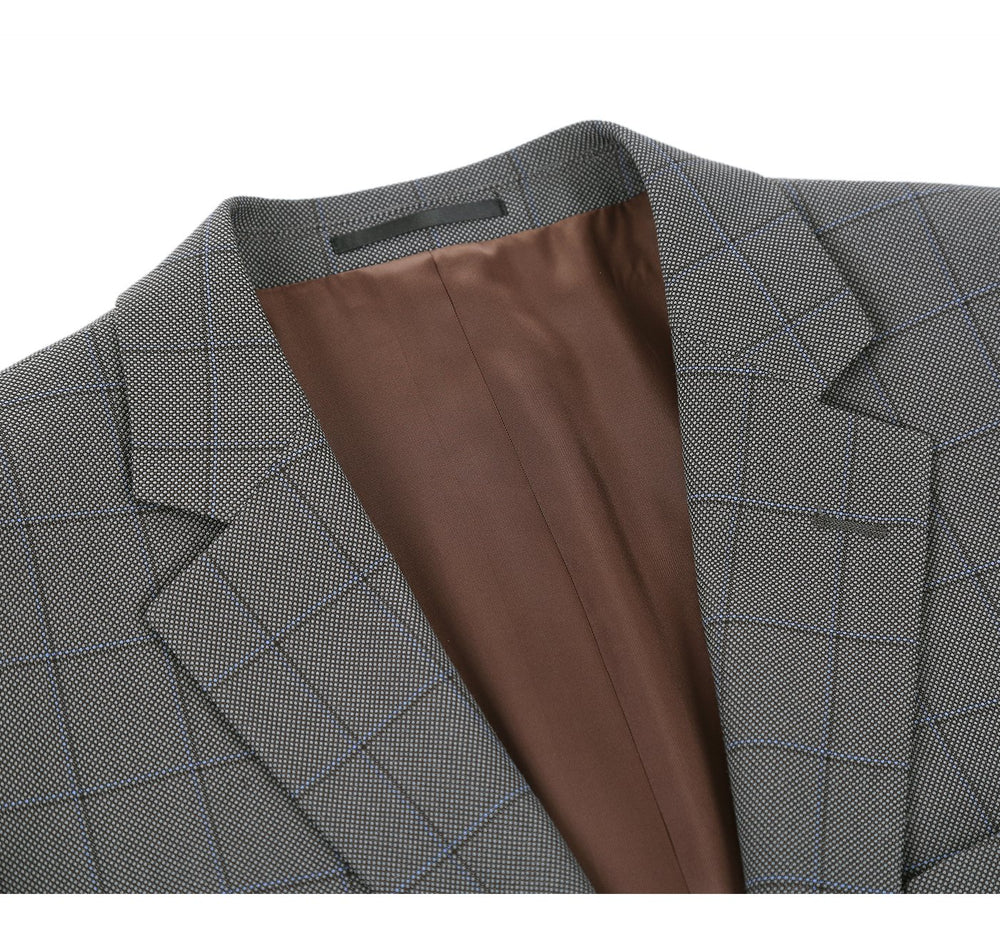 292-2 Men's Two Piece Classic Fit Windowpane Check Dress Suit