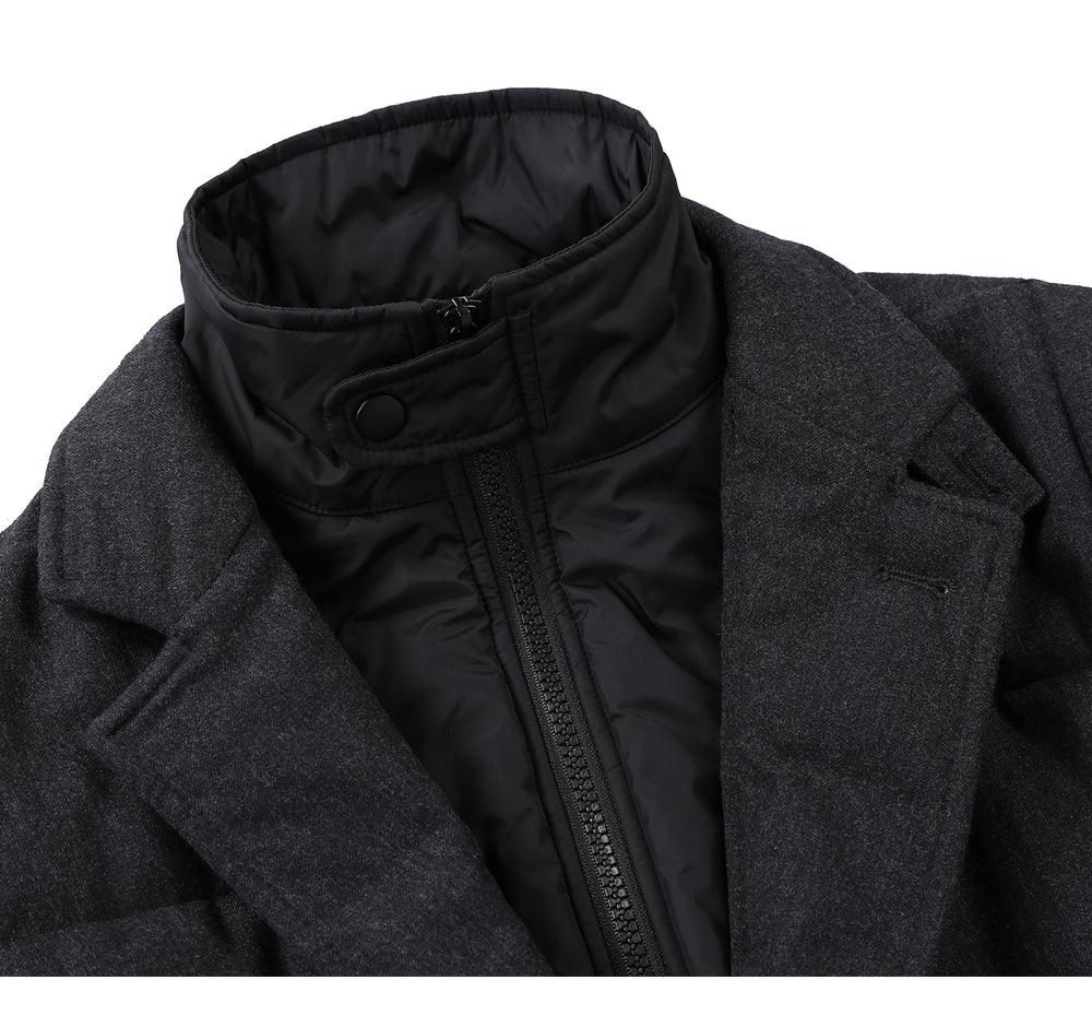 English Laundry41-05-095 Mens Wool Blend Solid Grey Winter Jacket Coat With Removable Hood & Mock Liner