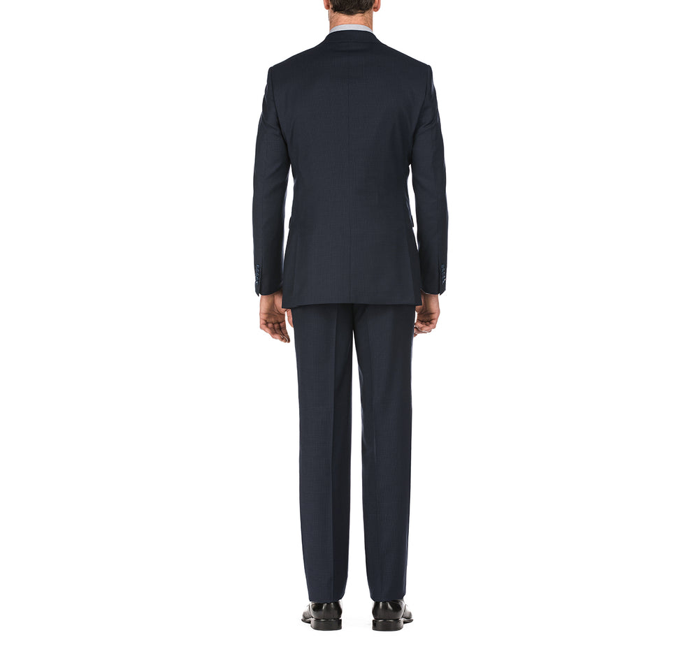 English Laundry32-26-410 Men's 3 Piece Slim Fit Two Button Check Wool Suit