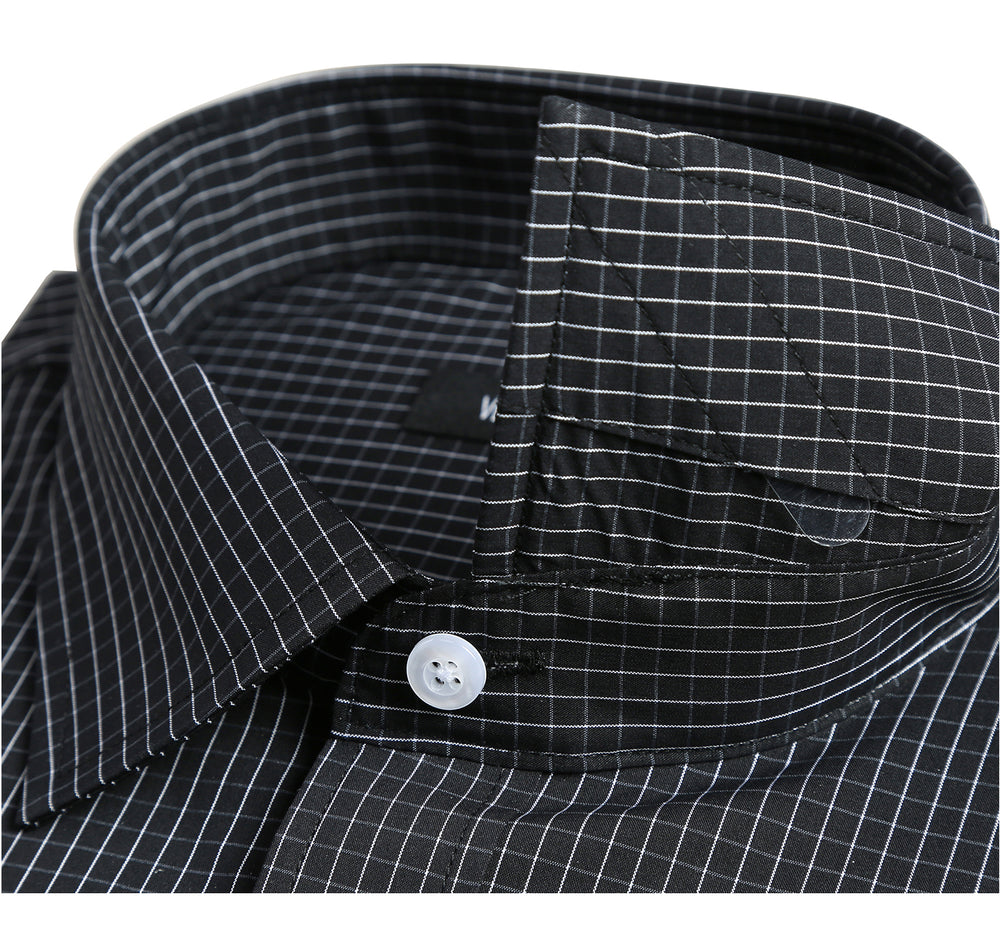 CE121914 Men's Slim Fit Gingham Cotton Long Sleeve Stretch Dress Shirt