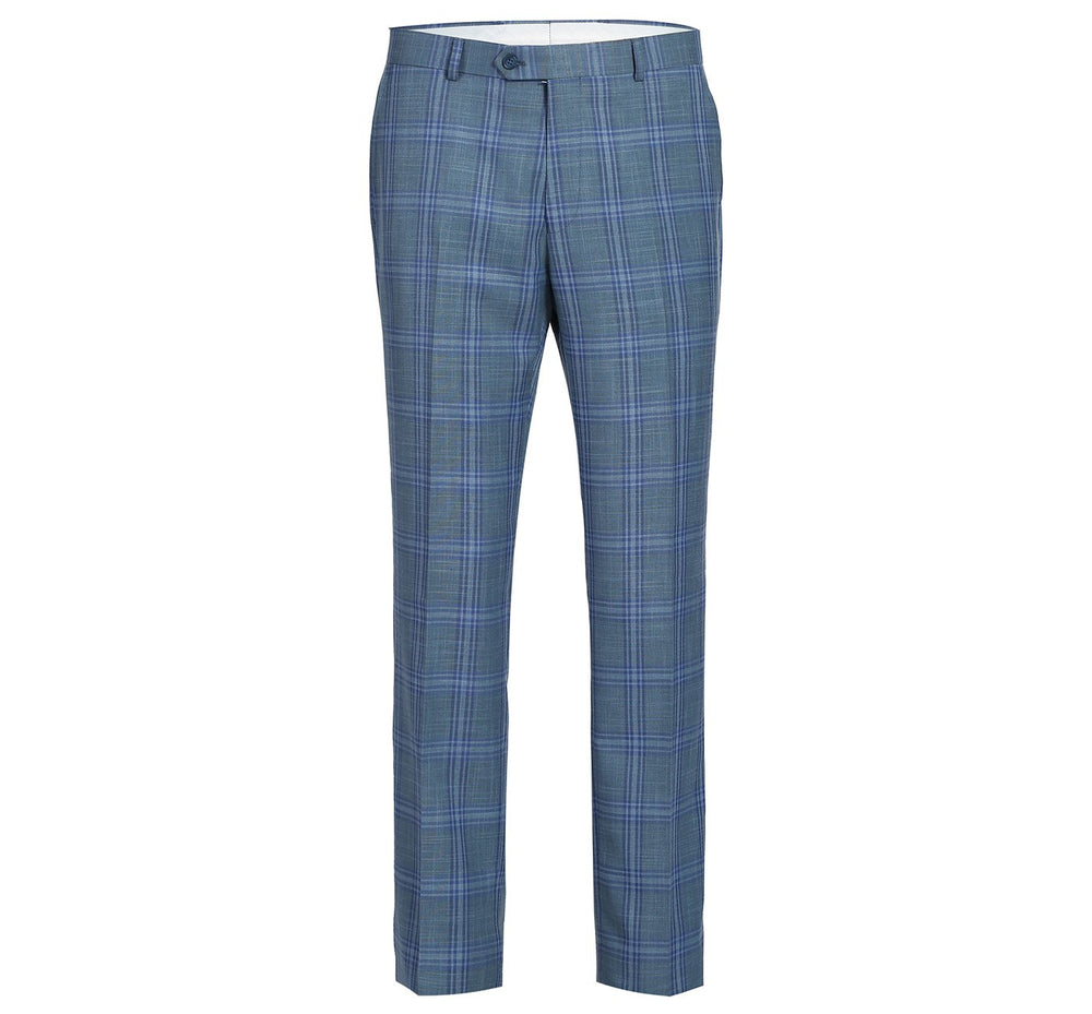 293-2 Men's Two-Piece Classic Fit Windowpane Check Dress Suit