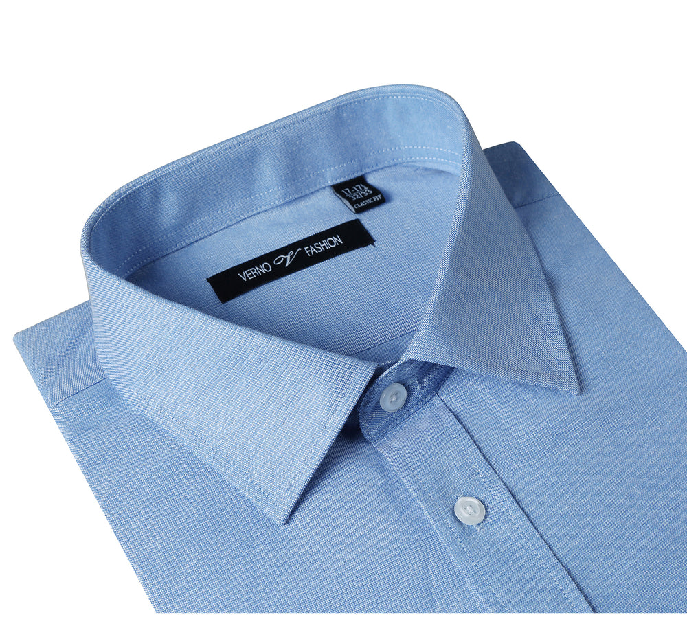 C2034-14 Men's Classic/Regular Fit Long Sleeve Blue Oxford Solid Dress Shirt