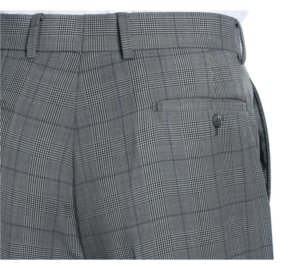 English Laundry32-58-092 Men's 3 Piece Slim Fit Two Button Check Wool Suit