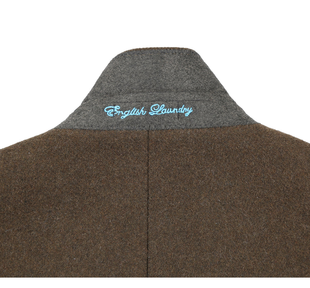 English Laundry43-01-341 Men's Wool Blend Breasted Solid Olive 3/4 Length Top Coat