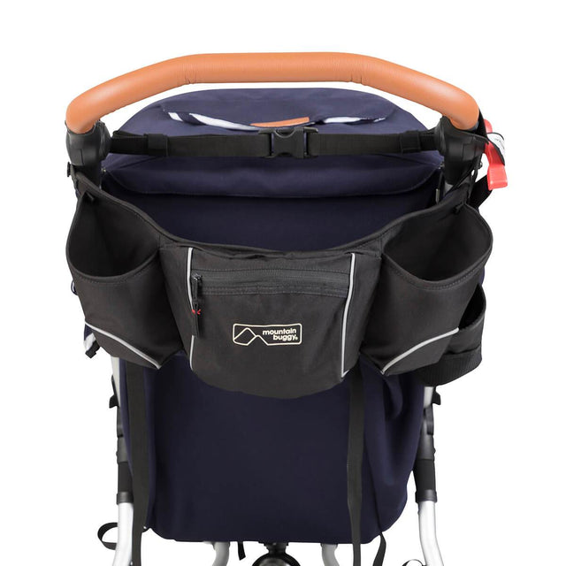 Mountain Buggy pouch storage bag attached to buggy handle bar in colour black_black