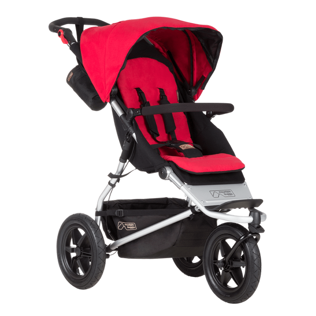 mountain buggy urban jungle all-terrain buggy OHbaby awards logo 3/4 view shown in color berry_berry