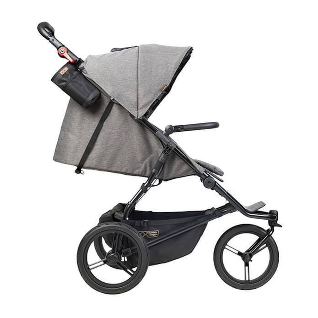 Mountain Buggy urban jungle luxury collection stroller in herringbone colour shown side on with lie flat seat position_herringbone