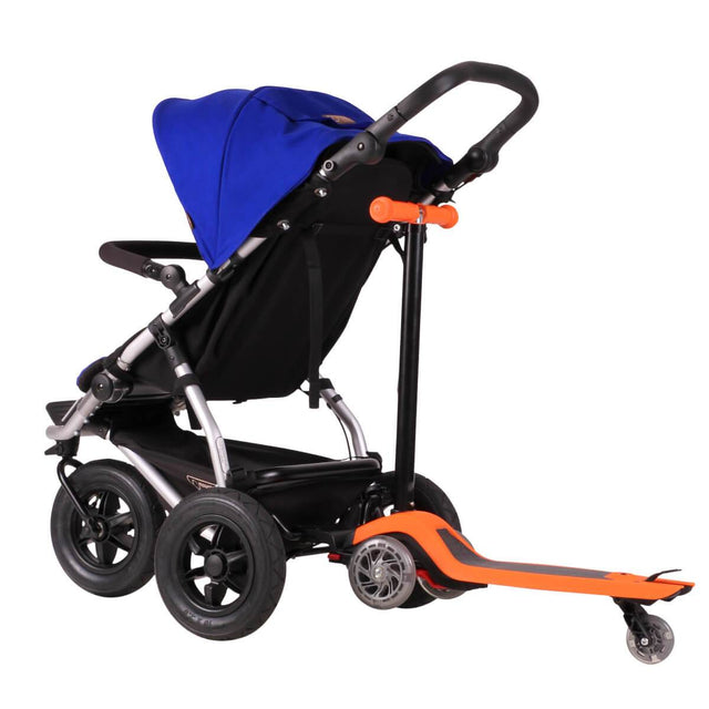 Mountain Buggy +one stroller in marine blue colour with freerider scooter attached in rear_marine