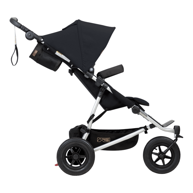 Mountain Buggy duet doble carroza vista lateral color negro_negro