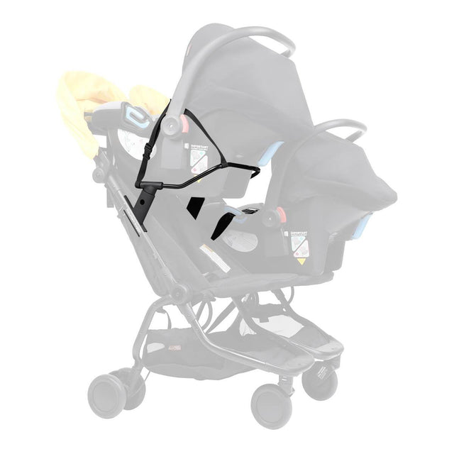 Mountain Buggy nano duo buggy car seat adaptor shown fitted to stroller with two infant car seats attached securely to buggy frame in colour black_black