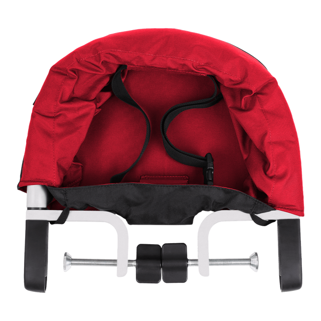 mountain buggy pod portable high chair in chilli red colour clips onto table_chilli
