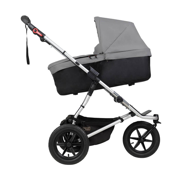 Mountain Buggy carrycot plus on urban jungle in incline mode in colour silver_silver