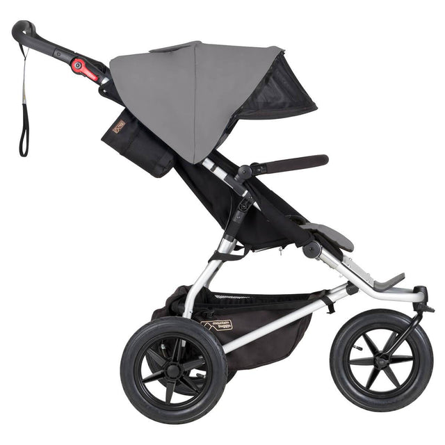 mountain buggy urban jungle all-terrain buggy with extendable visor side view shown in color silver_silver