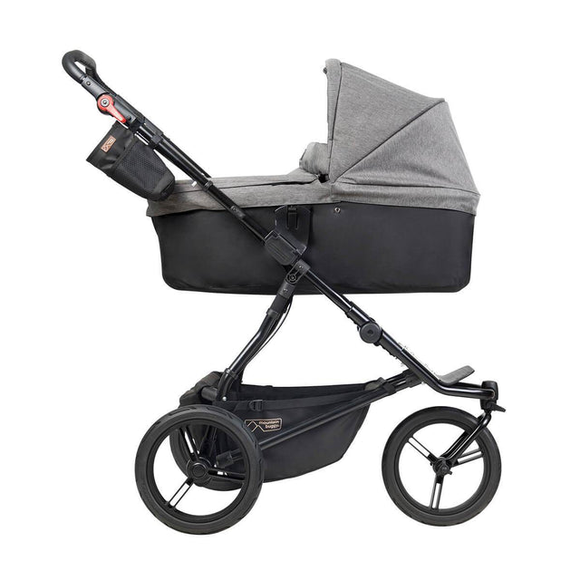 Mountain Buggy urban jungle luxury collection stroller with installed carrycot plus in herringbone colour side view_herringbone