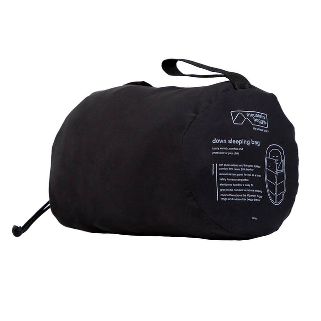 Mountain Buggy luxury down sleeping bag fully packed in colour grid_grid