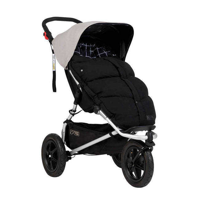 Mountain Buggy luxury down sleeping bag fitted on an urban jungle buggy in colour grid_grid