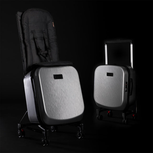 Mountain Buggy skyrider luxury image showing examples of ride on mode and carry on luggage mode_silver