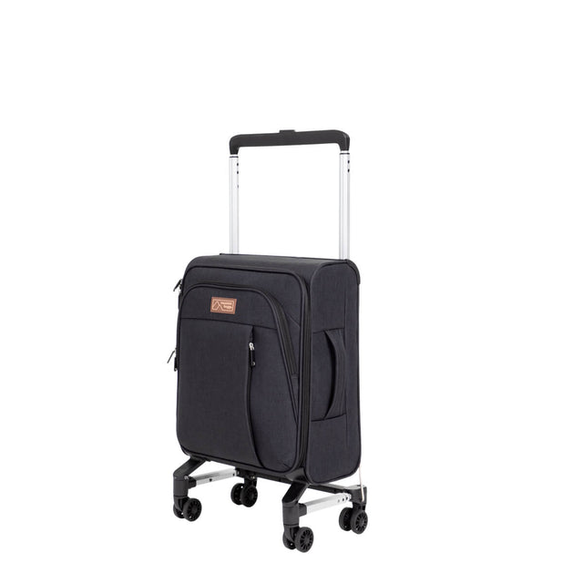 Mountain Buggy compact carry on case shown front side angle with retractable handle half folded