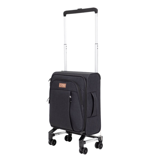 Mountain Buggy skyrider with retractable handle fully extended to show use as a carry on suitcase