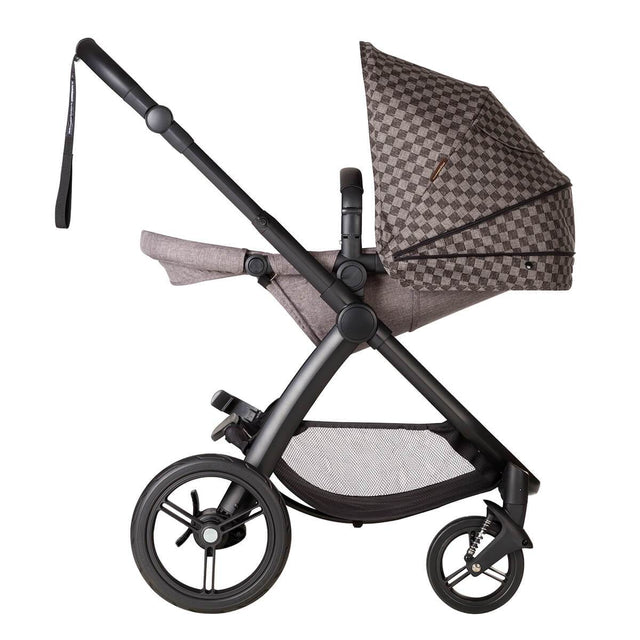 Mountain buggy cosmopolitan luxury 4 wheel modular buggy with parent facing seat in recline position and extended sunhood in colour geo_geo