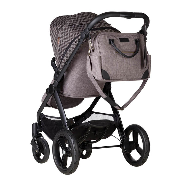 Mountain buggy cosmopolitan luxury 4 wheel modular buggy back view with satchel bag in colour geo_geo