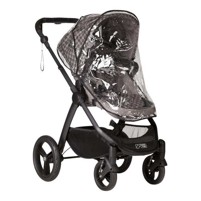 Mountain Buggy storm cover fitted to a cosmopolitan luxury buggy in colour geo_default