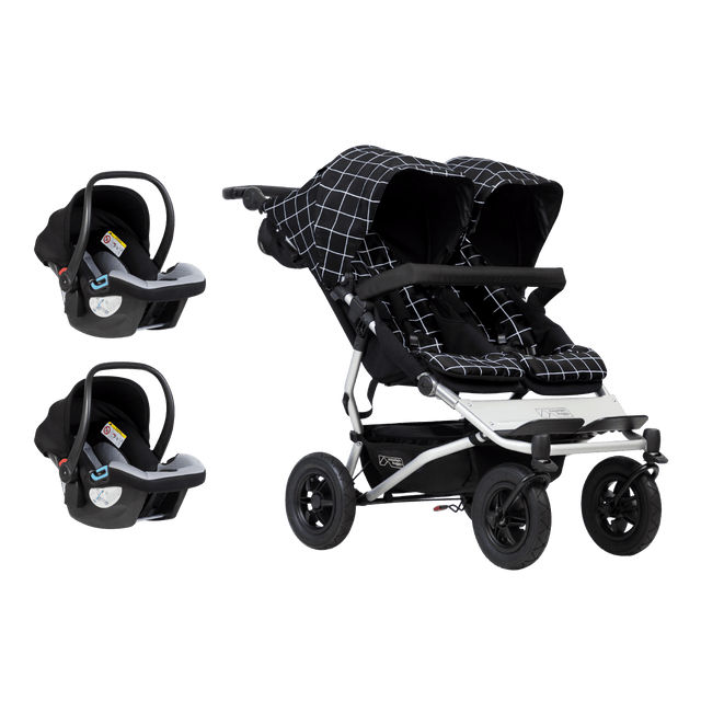 Mountain Buggy duet buggy stroller travel system bundle showing buggy and two protect infant car seats