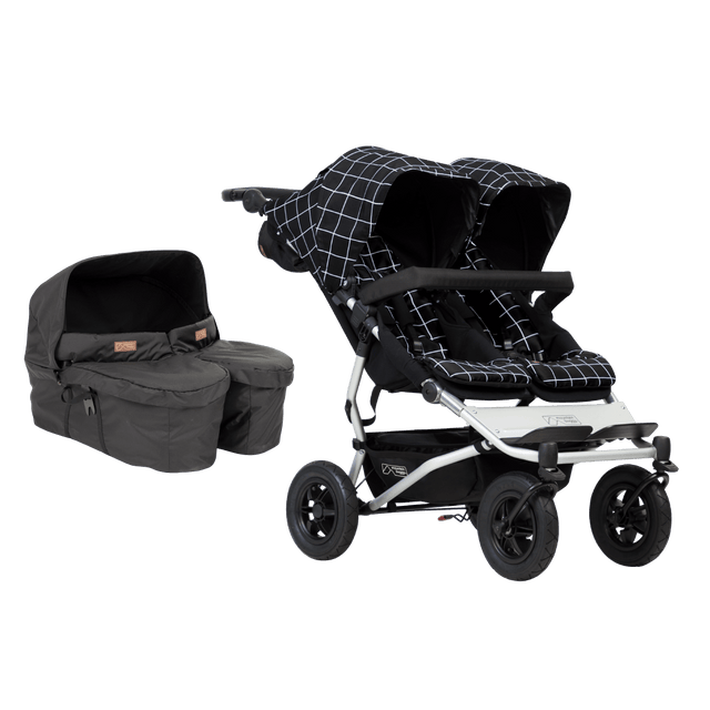 Mountain Buggy duet with carrycot plus for twins bundle image showing the package items