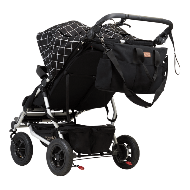 Mountain Buggy double satchel bag attached to duet double stroller stroller in colour grid_grid