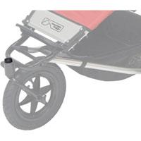 Mountain Buggy replacement cover for front wheel swivel shown on buggy in situ in colour black_black