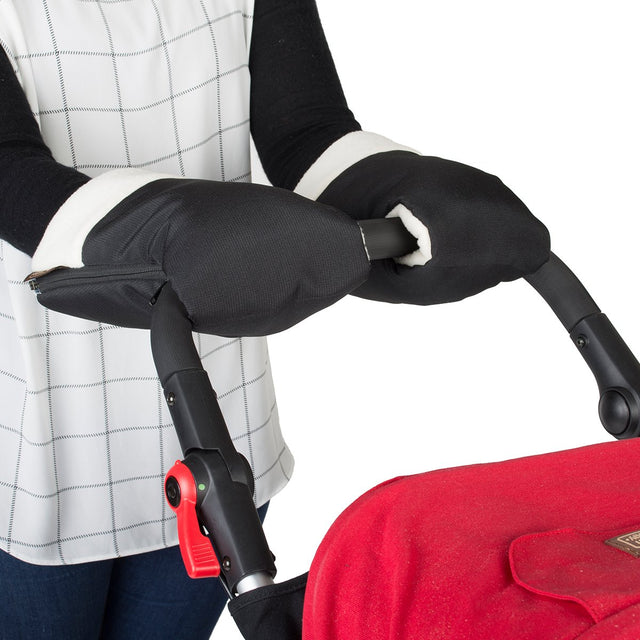 Mountain Buggy set of 2 handmuffs attached to handle bar of the buggy_black