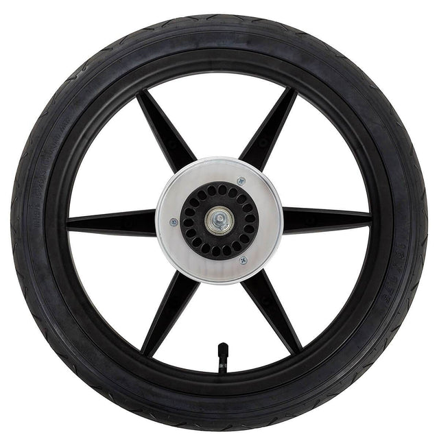 Mountain Buggy replacement 16 inch rear wheel top view showing wheel hub tyre tube and pre installed axle in black_black