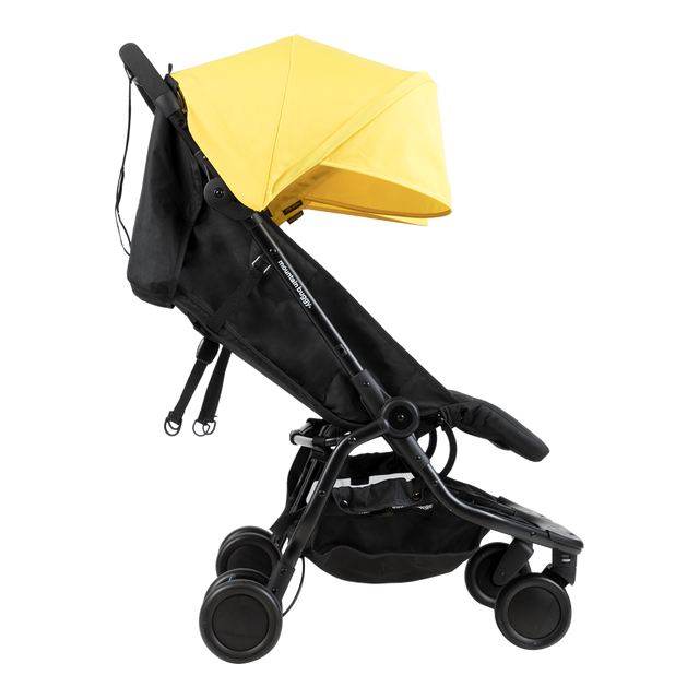 Mountain Buggy nano duo double lightweight buggy side view with seat reclined in colour cyber_cyber