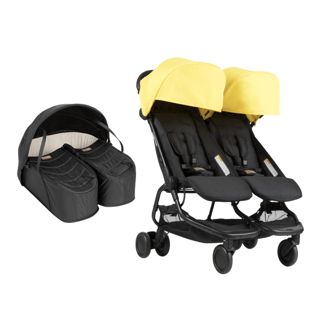 nano duo and cocoon for twins bundle showing buggy and newborn cocoon for twins