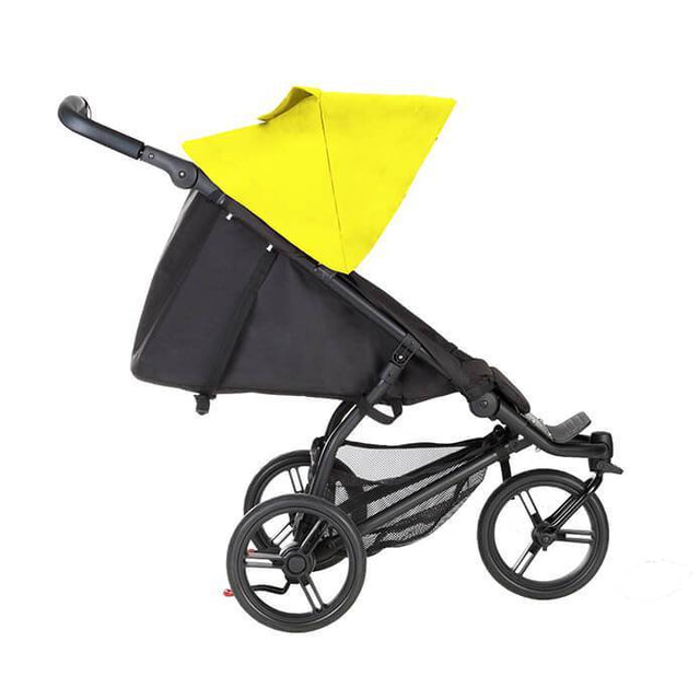 Mountain Buggy mini stroller in cyber yellow colour lie flat side view_cyber